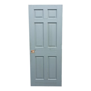 Vintage Blue 6 Panel Heavy Wood Door