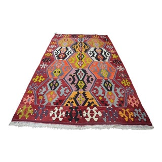 Anatolian Bohemian Wool Kilim Rug - 5′10″ × 9′11″