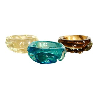 Mid Century Modern Hand Blown Italian Glass Bowls - Set of 3