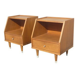 Vintage Mid-Century Modern Two Tier Peg Leg Nightstands by B.P. John USA - A Pair