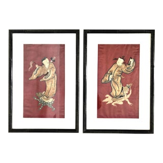 Antique Chinese Embroidered Mythological Panels on Silk - A Pair