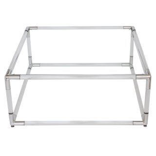 Lucite and Aluminum Square Coffee Table With Glass Top