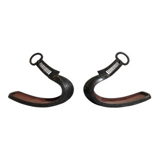Pair Japanese Edo Period Silver Inlaid Iron Stirrups, Abumi