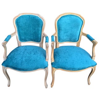 French-Style Aqua Velvet Side Chairs - A Pair