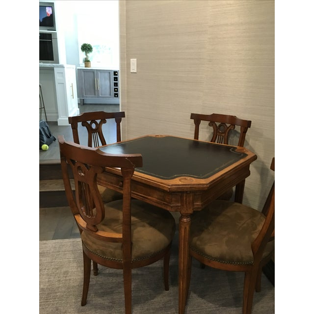 Antique Game Table And Chairs Set Of 5 Chairish