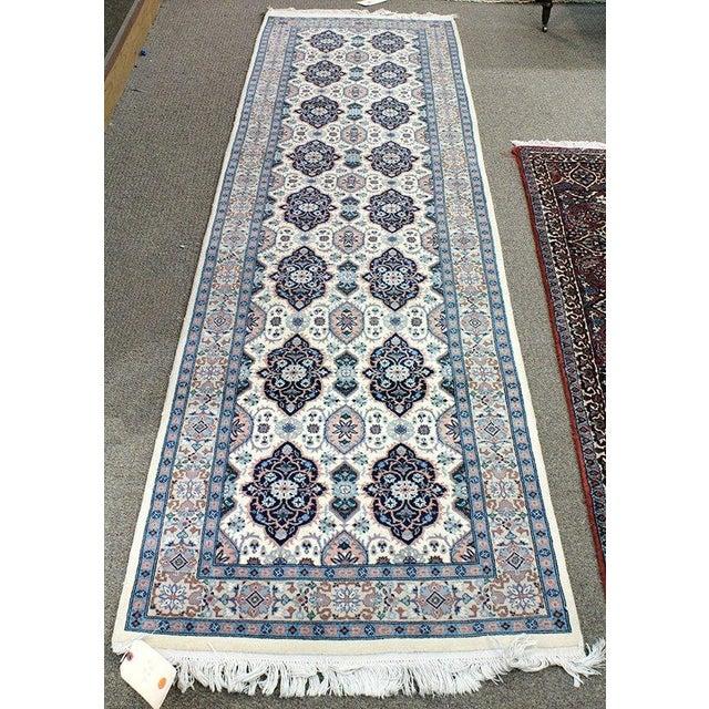 """Blue & Ivory Tabriz Runner Rug - 9'10"""" x 2'9"""" - Image 2 of 4"""