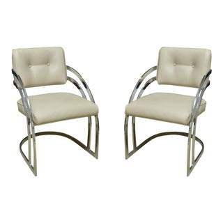 Pair of Mid-Century Chrome and Leather Armchairs