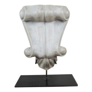19th C Italian Carved Marble Architectural Fragment on Iron Stand