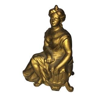 Classical Lady & Harp Clock Top Figure