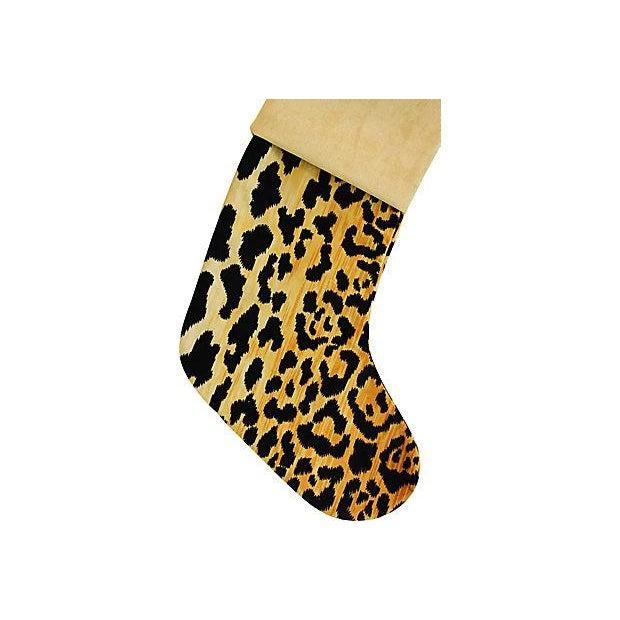Boho Chic Custom Velvety Leopard Christmas Stocking - Image 4 of 5
