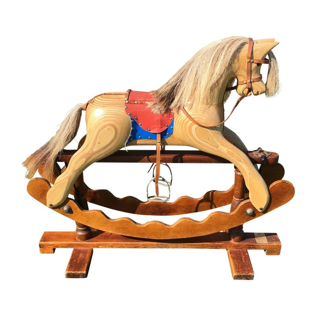 Hand crafted english rocking horse chairish for Hand crafted rocking horse