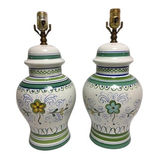 Vintage Italian Hand Painted Lamps - Pair
