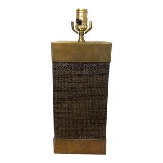 Brass & Grasscloth Accent Lamp