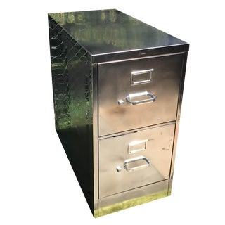 Vintage Polished Steel File Cabinet