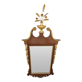 Vintage Federal Style Banded Mahogany Gold Gilt Mirror