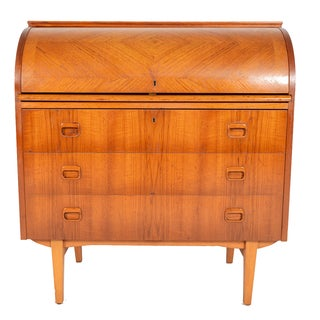 Swedish Modern Roll Top Teak Secretary Desk