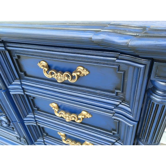 Hand Painted Navy Blue Dresser - Image 4 of 8