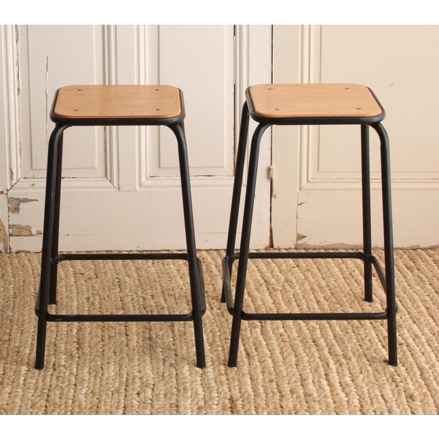 Vintage French Schoolhouse Stool - A Pair - Image 3 of 4
