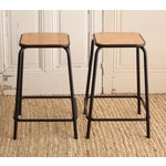 Image of Vintage French Schoolhouse Stool - A Pair