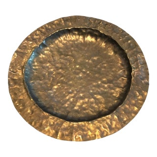 Vintage Hammered Solid Brass Shallow Bowl Tray