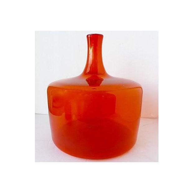 Large Orange Handblown Art Glass Bottle - Image 5 of 5