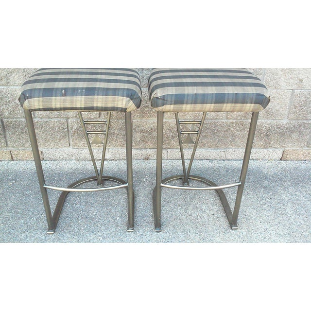Milo Baughman Bar Stools -- A Pair - Image 7 of 10