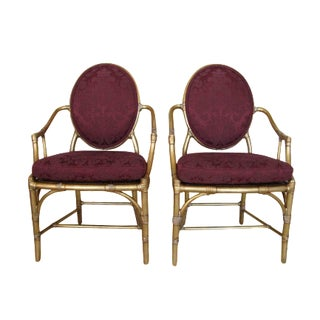 McGuire Gold Leaf Chairs, Burgundy Damask - Pair