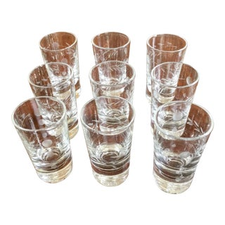 Petite Etched Schnapps Glasses - Set of 9