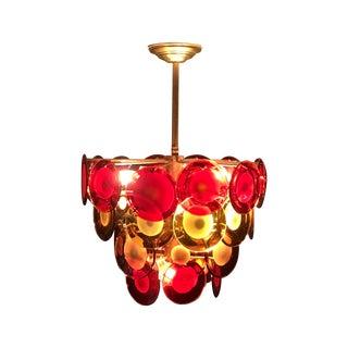 Vistosi Murano 4 Tier Red & Amber Disc Chandelier