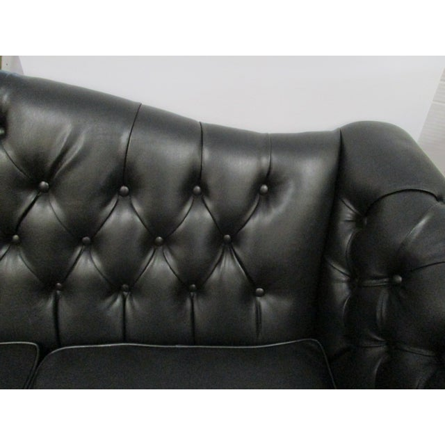 Black Faux Leather Chesterfield Sofa Chairish