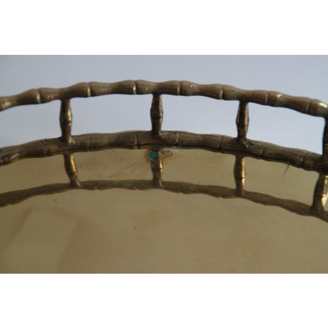 Oval Brass Faux Bamboo Tray - Image 3 of 5