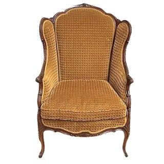Antique Houndstooth Velvet Fauteuil