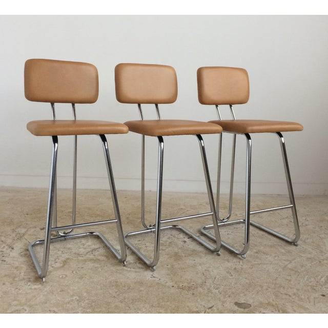 Butterscotch Leather Counter Stools - Set of 3 - Image 2 of 5