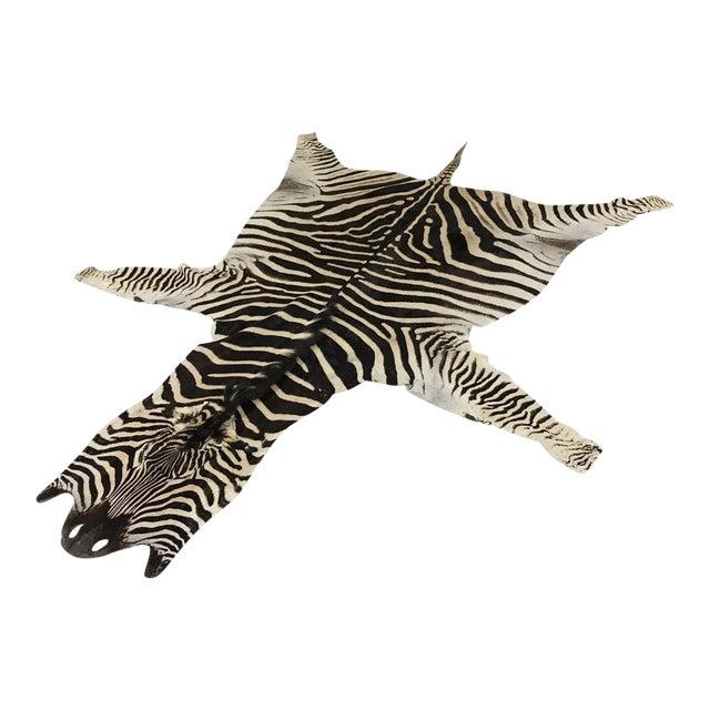 Natural Zebra Hide Rug - 8'3 x 7'3 - Image 1 of 3