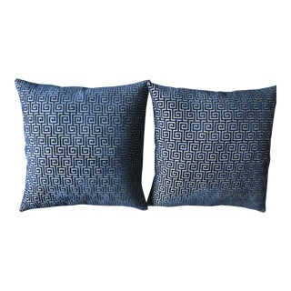 Blue Cut Velvet Pillows - A Pair