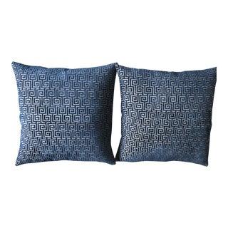 Blue Cut Velvet Pillows - A Pair