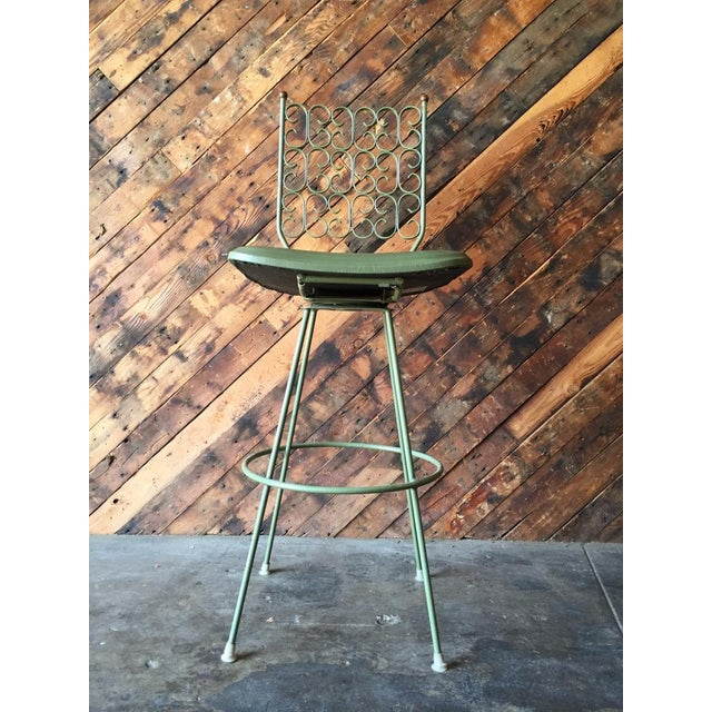 Image of Salterini Painted Wrought Iron Sage Green Barstool