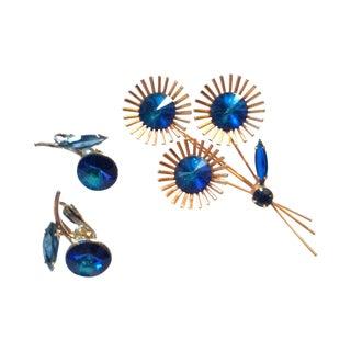 1960s Juliana Rivoli Blue Crystal Pin & Earrings