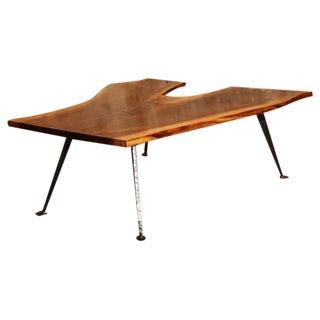 Vintage Industrial Free-Form Walnut Wood & Cast Iron Coffee Table Maple Key