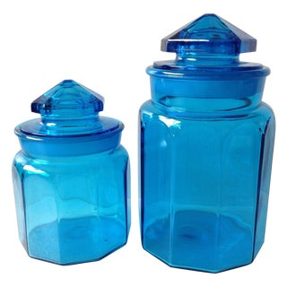Antique Peacock Blue Glass Apothecary Jars - Pair