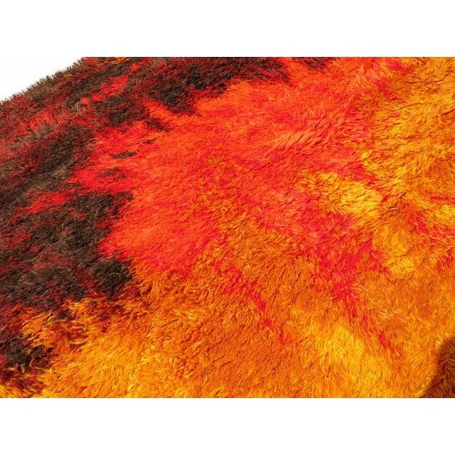 Scandinavian Fire Pattern Shag Rya Rug/Ege Rya - Image 2 of 4