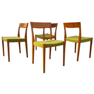 Swedish Chartreuse & Teak Dining Chairs - Set of 4
