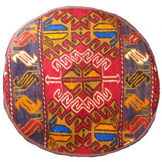 Red Tribal Pouf / Ottoman Cover
