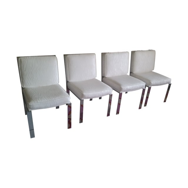 Image of Mid-Century Modern Chrome Dining Chairs - Set of 4