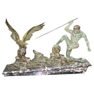 French Art Deco Patinated Metal Sculpture Hunter Stalking Bird, Circa 1940's