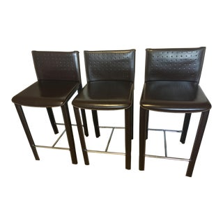 Arper Brown Leather Counter Stool - Set of 3