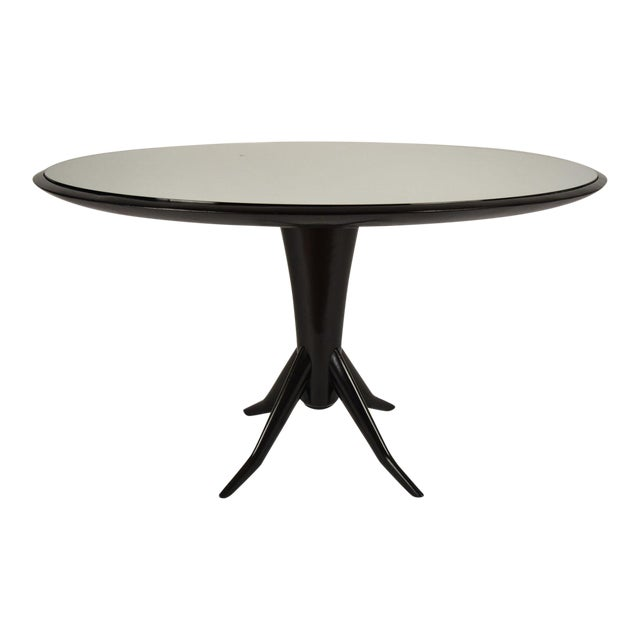 vintage laquered round mirrored top dining table chairish. Black Bedroom Furniture Sets. Home Design Ideas