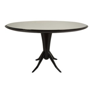 Vintage Laquered Round Mirrored Top Dining Table