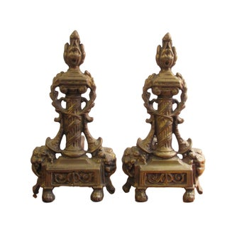 Antique Victorian Brass Fireplace Andirons - A Pair