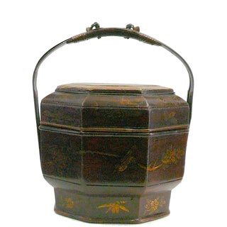 Chinese Bamboo Octagon Flower People Basket